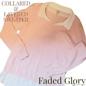 Faded Glory Women's Collared Sweater XL